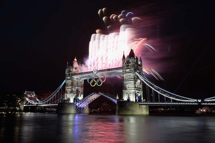 Fireworks explode from Tower Bridge during the opening ceremony of the London 2012 Olympic Games on July 27, 2012 in London, England.  (Streeter Lecka/Getty Images)  PHOTO LINK: Opening Ceremony, London2012, London 2012, Tower Bridge, 2012 Olympic, London Olympics, Olympics 2012, Summer Olympic, Olympic Games