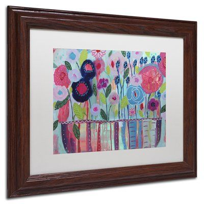 "Trademark Art 'Cultivate Joy' Framed Painting Print Frame Color: Birch, Mat Color: Black, Size: 16"" H x 20"" W x 0.5"" D"