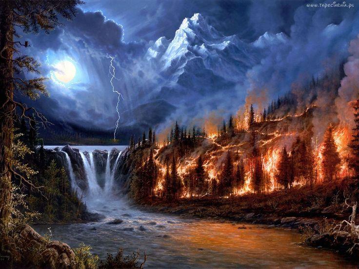 Noc, Wodospad, Burza, Pożar, Góry