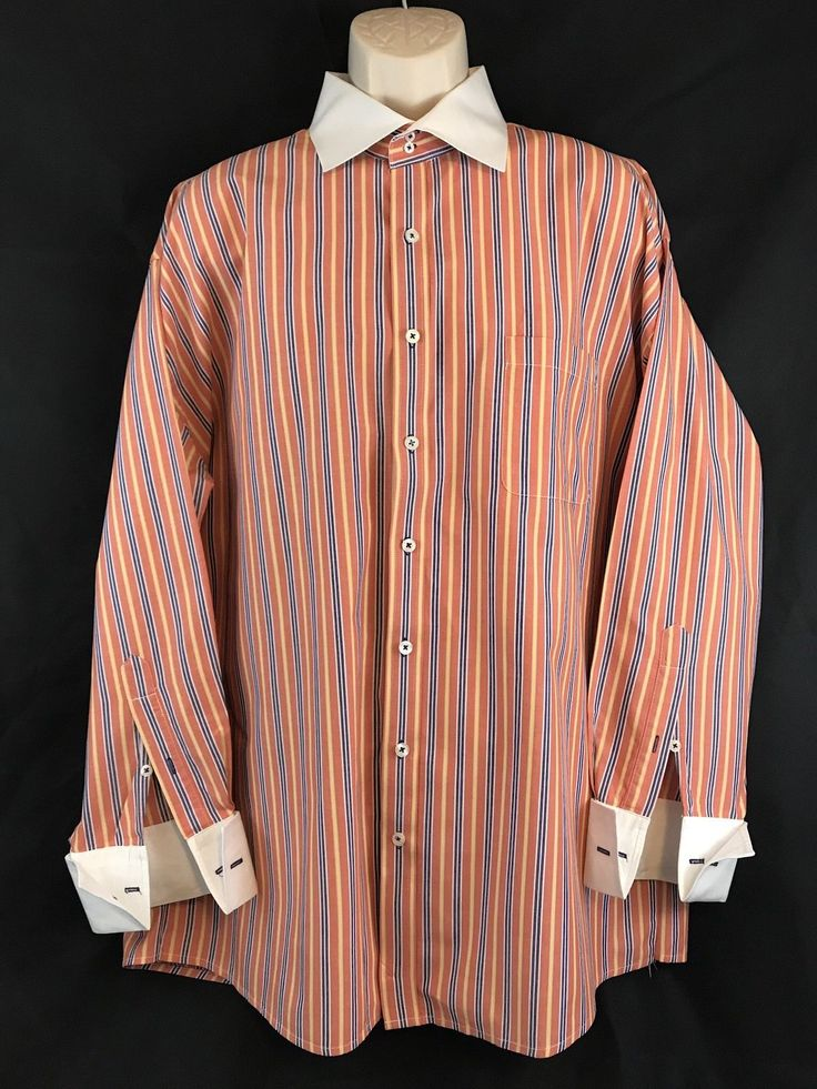 Steve Harvey Collection Multicolored Striped French Cuffs Dress Shirt Big 18 1/2 in Clothing, Shoes & Accessories, Men's Clothing, Dress Shirts   eBay