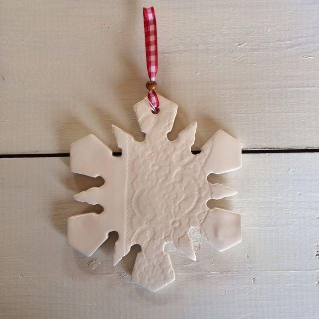 Giant Handmade Ceramic Snowflake Hanger £15.00