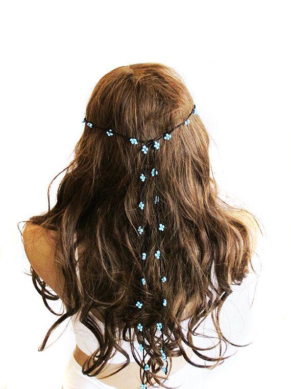 crochet Headpiece Headband Hair Piece blue  #Headband #hair #headpiece #hairjewelry #gypsy #headdress #hairaccessory #bohemian #boho #wedding #hairaccessories #jewelry #hairnecklace #hippie #Bridesmaids #weddings #girls #girly