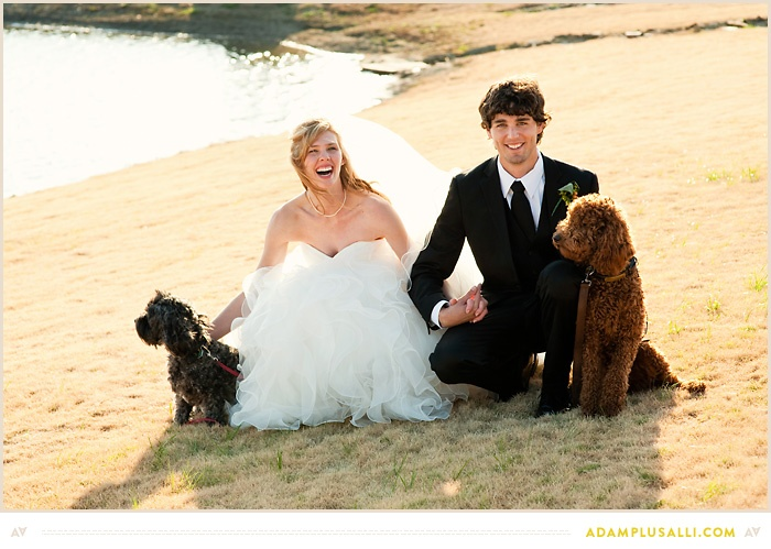Include your pets on your wedding day!  Dog photo with the bride and groom.  Outdoor wedding.  Pet children.  Adorable dog photo.