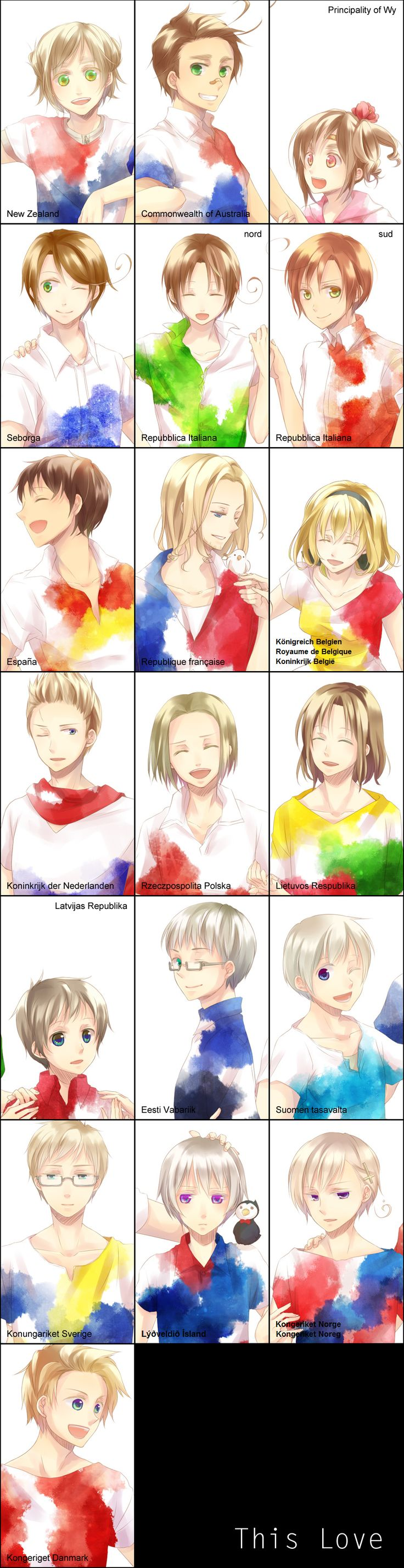 """""""Hetalia characters with their """"official"""" names in their respective official languages: how many can you figure out? - Art by Nikawa"""""""