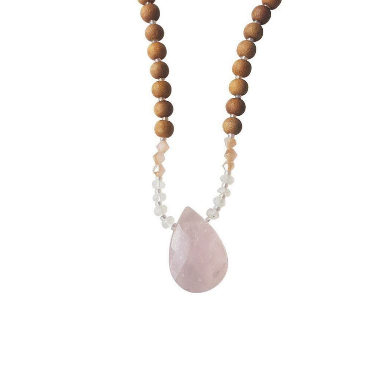 *Rose Quartz, Moonstone, Peach Glass Crystal*  As you embark on this new chapter of your life, the Magical Beginnings Mama Mala keeps you in tune with the natural cycles of reflection and growth so you can embrace your new journey with a light and open heart.