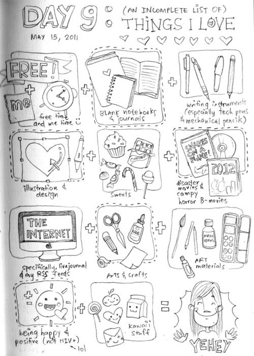 Wedgie's 30 Days of Lists: contains a complete list of lists, illustrates the lists instead of writing them, illustrations stop at Day 12