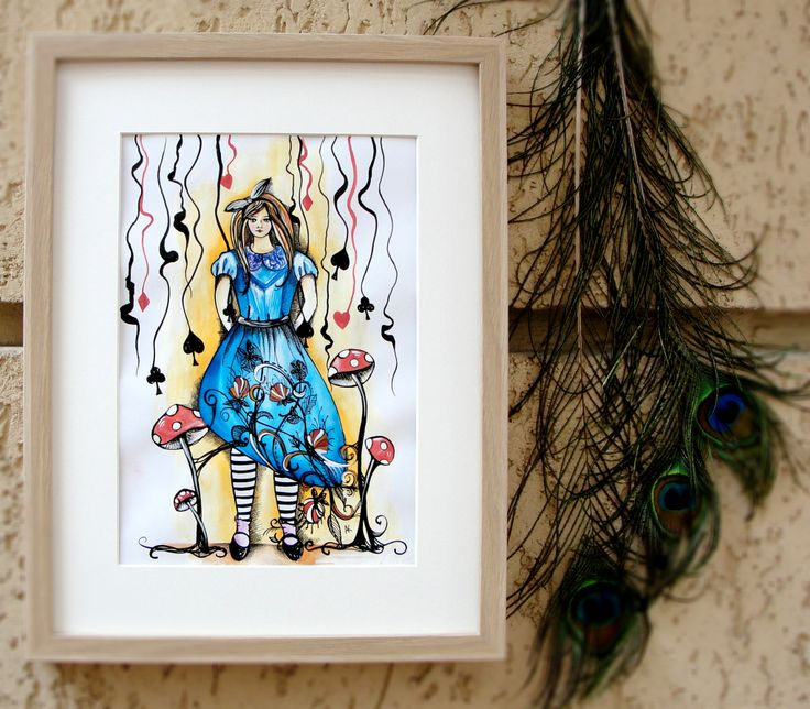 Hand painted illustration with Alice in Wonderland. Details: http://www.myneverland.ro/lucrari/view/ilustratii/ilustratie-alice-in-wonderland