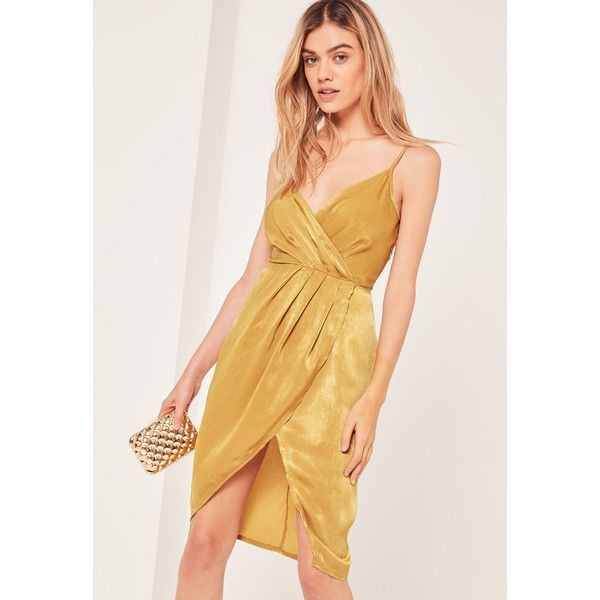 Missguided Yellow Petite Silky Strappy Wrap Over Midi Dress ($51) ❤ liked on Polyvore featuring dresses, chartreuse, wrap cocktail dress, petite midi dress, strap dress, wrap dress and strappy midi dress