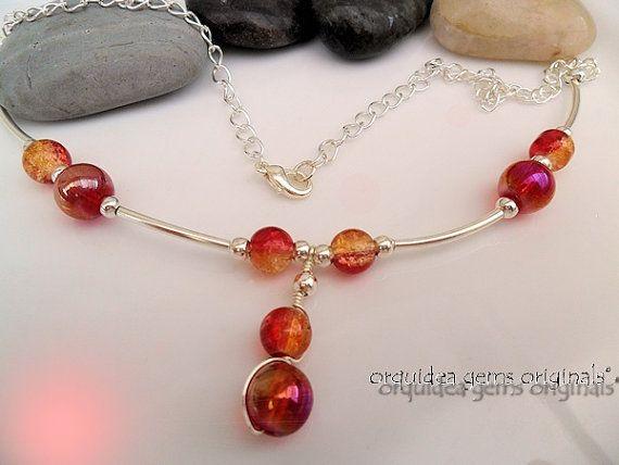 Cherry Bomb Bead and Wirework Pendant by orquideagemsoriginal, £21.50