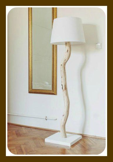 DIY tree branch floor lamp--would make a nice table lamp with a shorter branch