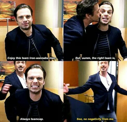 This is my favorite pic ever Civil War interview #funny - Sebastian Stan and Robert Downey Jr.