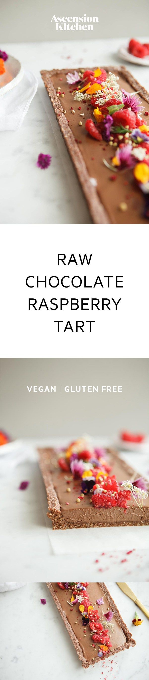 Raw Chocolate Raspberry Tart infused with Ginger, a Vegan Recipe