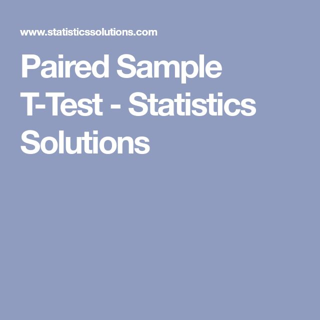 Paired Sample T-Test - Statistics Solutions