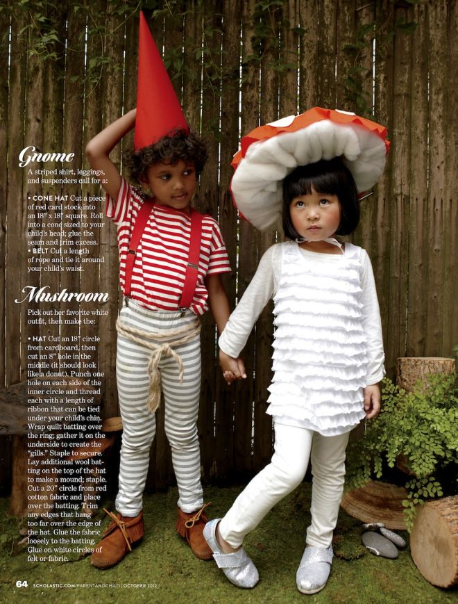Gnome and Mushroom costumes  Photo by Melanie Acevedo for Parent & Child, October 2012 issue.