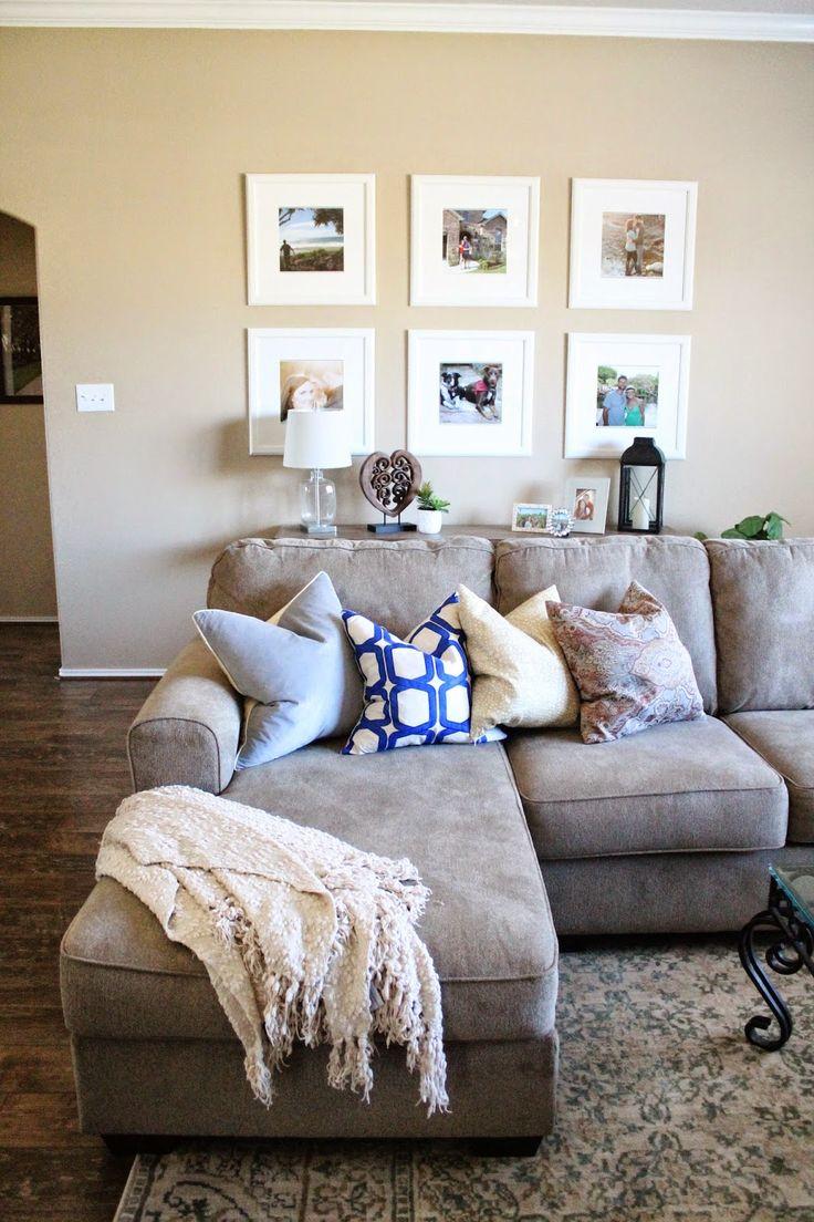 Cozy living room space || Ikea frames || Home Depot rug || Ashley Furniture sofa