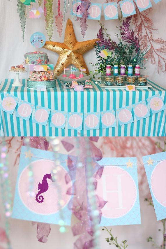 Mermaid Birthday PartyPrintables Mermaid, Mermaid Birthday Parties, Decor Ideas, Mermaid Parties, Parties Collection, Sea Parties, Birthday Parties Ideas, Sea Collection, The Sea