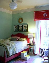 blue red and black: Bathroom Design, Color Combos, Bedrooms Design, Cornices Boards, Bedrooms Idea, Big Girls, Windows Treatments, Girls Rooms, Kids Rooms