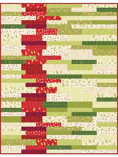 """Create layers of vibrant texture and color. Simple design and striking colors make this quilt pattern stand out! The pattern is easy to cut and piece together in no time, and the colors are perfect for stitching up a last-minute Christmas quilt. Kit includes all the necessary fabric to make the top of the quilt, plus the binding. Finished size is 54"""" x 72""""."""