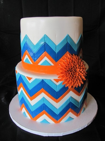 Modern Blue Orange Round Wedding Cakes Photos & Pictures - WeddingWire.com