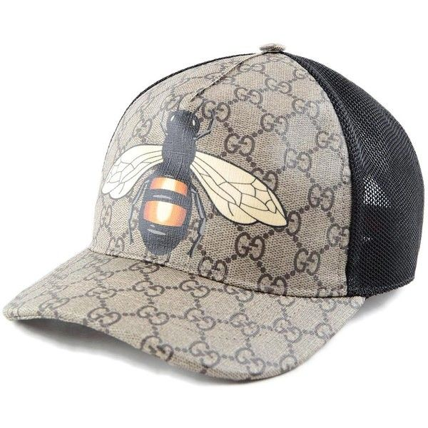 Gucci Bee Baseball Hat ($200) ❤ liked on Polyvore featuring accessories, hats, bee hat, gucci, bumblebee hat, ball cap hats and gucci hat