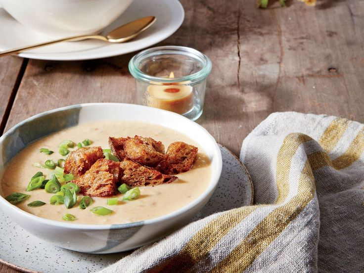 Cheesy Grits-and-Ale Soup Recipe | If you're a fan of rich and hearty beer-cheese soup (and who isn't?),