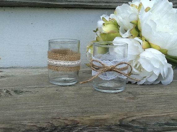Set of 10 rustic wedding tea light holders, burlap and lace wedding, country wedding decor on Etsy, $38.95