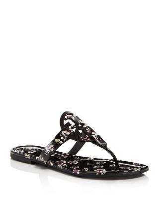 c5bed0e81 Tory Burch Women s Miller Patent Leather Floral Thong Sandals ...