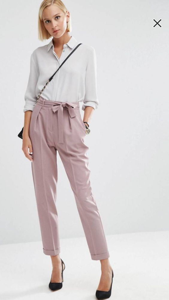 Carrot pants taille haute rose.