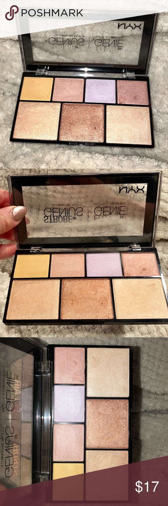 NYX Strobe of Genius Illuminating Palette NYX Professional Makeup Strobe of Genius Illuminating Palette  Only used a couple times for swatching, usage shown in pics! NYX Makeup Luminizer