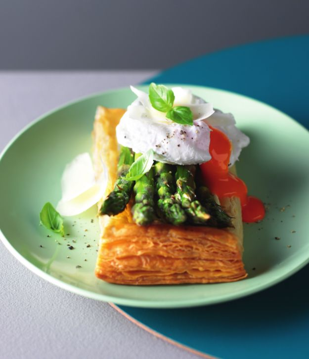 Asparagus and poached egg puff tarts with parmesan and basil by Lorraine Pascale