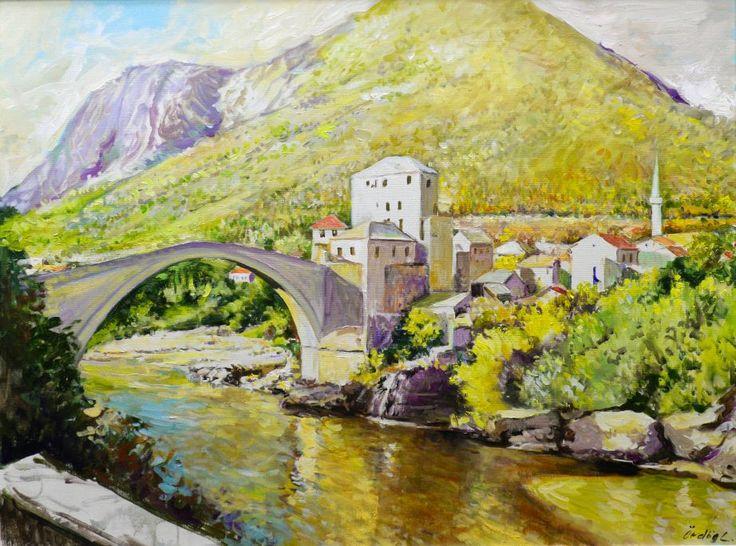 Ördögh László magyar festő : Híd, olaj vásznon, 100x75 cm