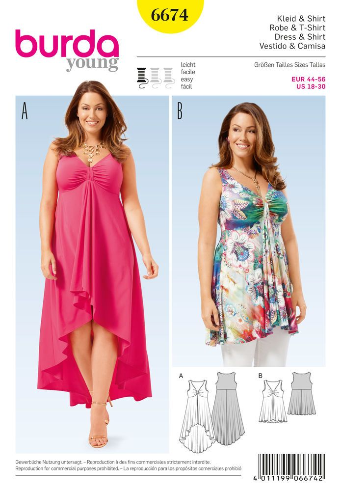 Burda 6674 - Women's Shirt and Dress An enticing dress and top with a beautiful décolleté neckline. The bodice pieces are gathered with a ribbon in the center. The bell-shaped skirt of the dress is lengthened in back for a wonderful effect.