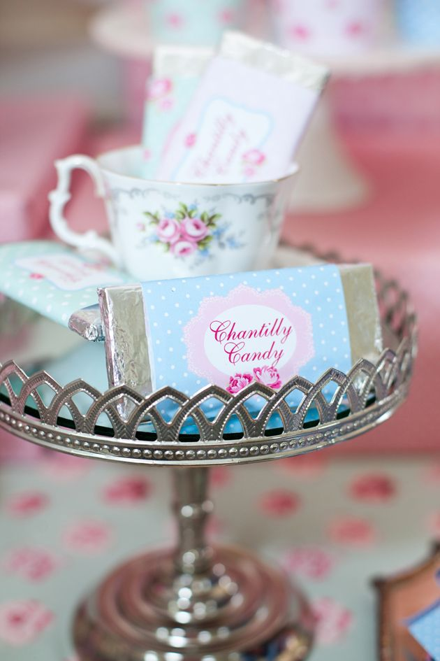 Chantilly Candy: Printable-wrapped candy bars.  Source: Sunshine Parties