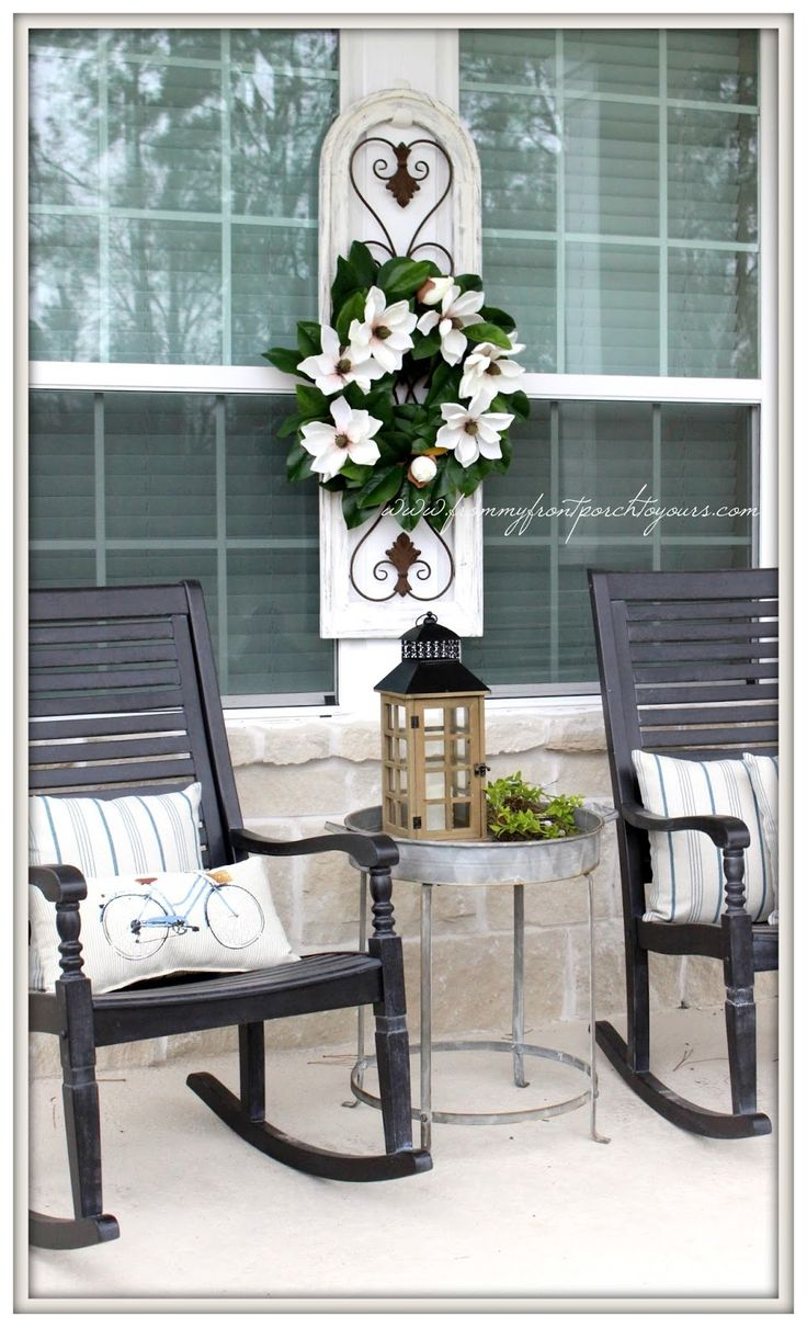 Farmhouse Front Porch-Grandin Road Rocking Chairs-Magnolia Wreath-From My Front Porch To Yours