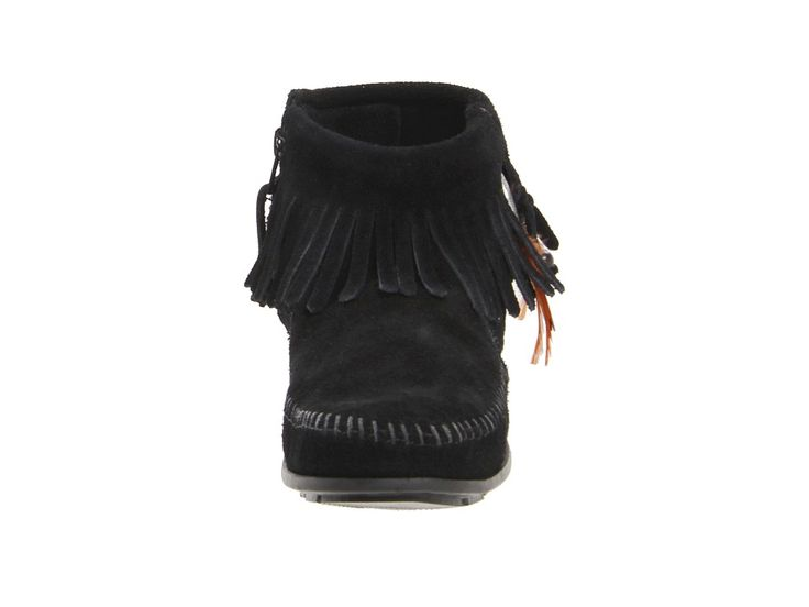 Minnetonka Concho/Feather Side Zip Boot Women's Pull-on Boots Black Suede