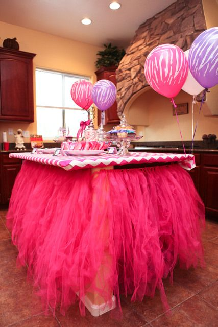 Not MY style, but I know a couple of my girls would LOVE this for their little girls....shoot,my granddaughters nene would love this for her....better out this on the grand babies page....Lol......-sf  Decorated kitchen island at a Fashion Dance party #fashionparty #decor