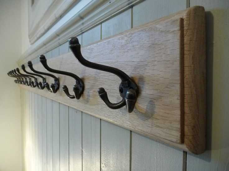 Vintage Wooden Coat Rack, Cast Iron Triple Hooks, Solid Oak Wood Handmade.