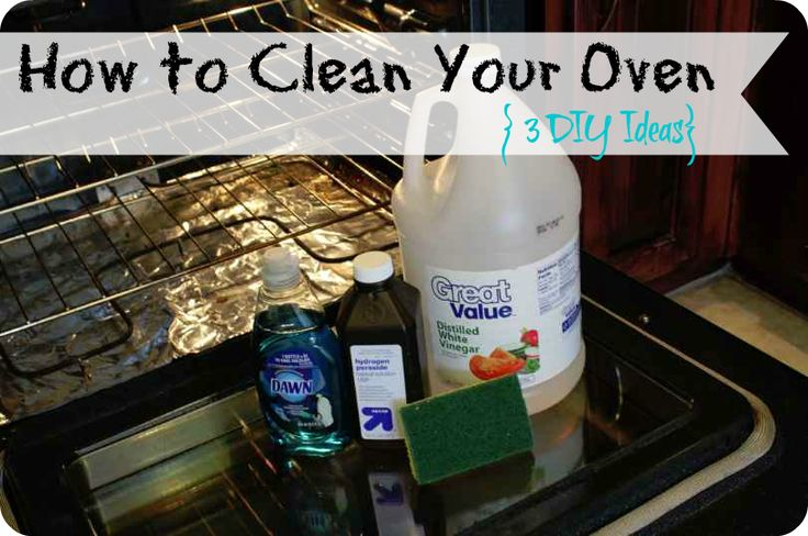 Baking Soda Oven Cleaner:  Mix about a cup of baking soda with hot water until it starts to form a paste.  Apply to the inside of your oven and let sit for at least an hour.  Then just wipe clean with damp rag or sponge.  You can reapply for a longer amount of time if you have some areas needing some extra help.