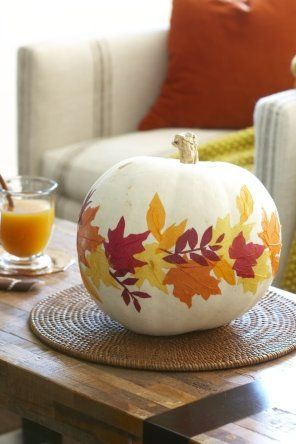 Pumpkin Decorating Ideas- i love this idea...could be good with a fake pumpkin so it does rot after being painted