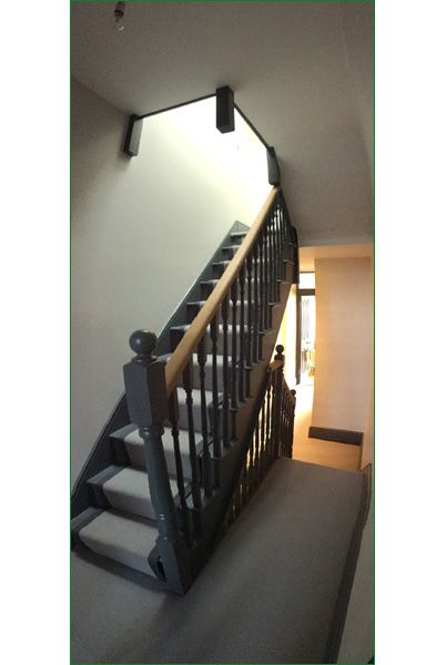 Keel Staircase - A cut string softwood straight flight of stairs leading to a smaller flight to the next floor.