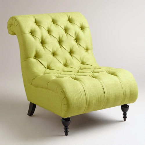 Green Tufted Devon Slipper Chair at Cost Plus World Market >> #WorldMarket Emerald City Inspirations