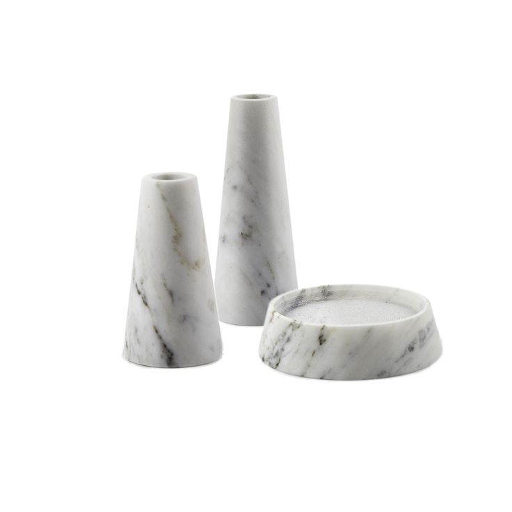 Decospot | Candlesticks & Lanterns | Atipico Tellus Carrara Candlesticks. Available at decospot.be webshop.