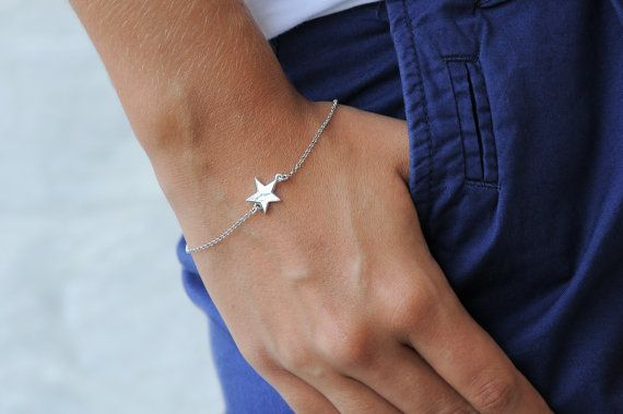 Silver star bracelet Silver star 925 sterling silver by Wavejewels