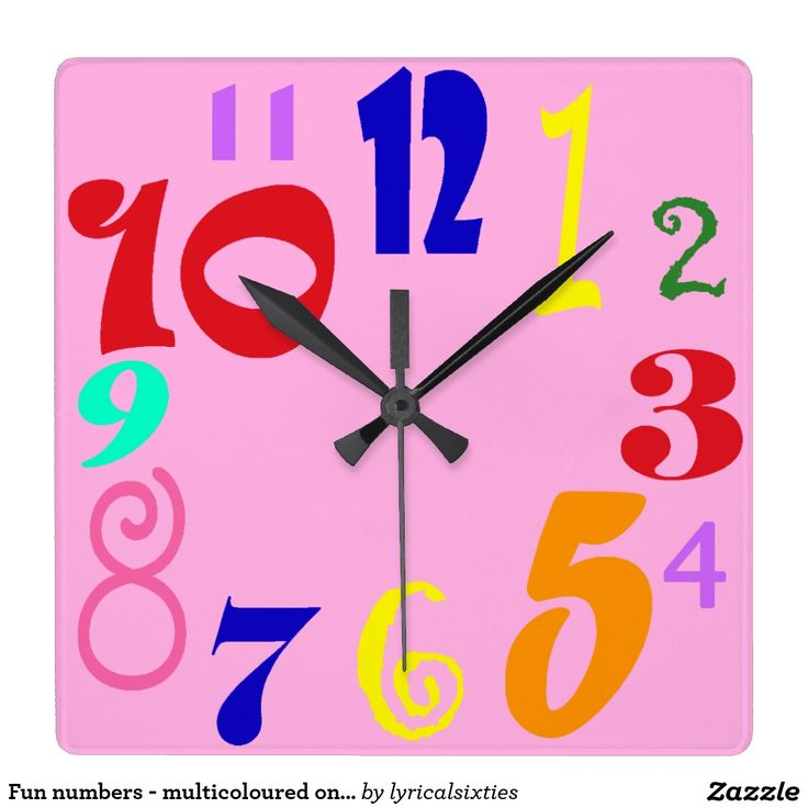 fun numbers on pretty pink square wallclock a pink clock face with numbers