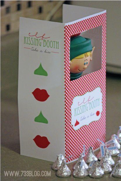 Elf on the Shelf Kissing Booth - Free Elf on the Shelf Printable - a fun Christmas idea!