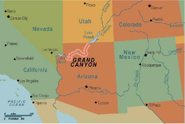 Grand Canyon Location On Us Map | MAP of US