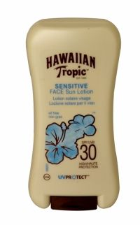 Hawaiian Tropic Sensitive Face Sun Lotion 120ml Spf 30 Indulge and protect your skin with our Sensitive Skin Face Sun lotion SPF30. Specifically designed for Sensitive Skin, Hawaiian Tropic Sensitive Face Sun lotion provides high UVA/UVB protection. This oil-free, fragrance-free and dye-free Face Sun lotion provide the protection you need and contains skin-nourishing antioxidants that won't clog pores or cause breakouts