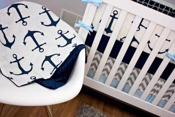 PRÊT à être expédier ! La valeur nautiques, ancres, marine, gris lit Literie bébé, bébé bleu