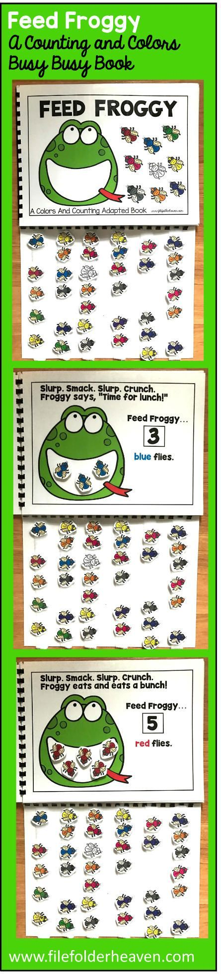 This Feed Froggy Colors and Counting Adapted Book is an adapted book that focuses on colors and counting in a fun and interactive way.  In a small group, independent center or independent work station. A teacher or student reads through the book and feeds the animal or critter, the correct number and color the food on each page.  Sample text: