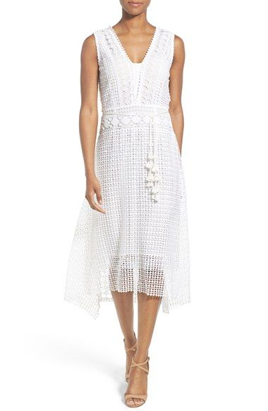 Kobi Halperin 'Audrina' Crochet Lace Midi Dress Crochet lace with a geometric…